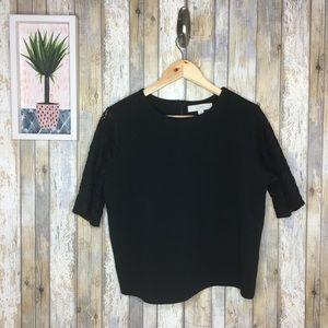 LOFT Black Half Lace Sleeve Blouse